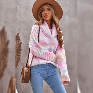 Cowl Neck Ombre Knit Sweater